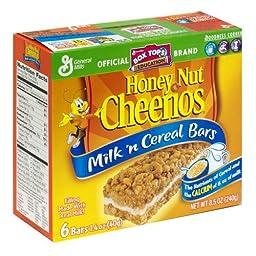 General Mills Milk \'n Cereal Bars Honey Nut Cheerios, 6 Bars per 8.5-oz. Box (Pack of 6 Boxes)