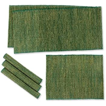 NOVICA Green Natural Fiber Cotton Table Runner and Placemats, 'Nature Of Green' (Set of 4)
