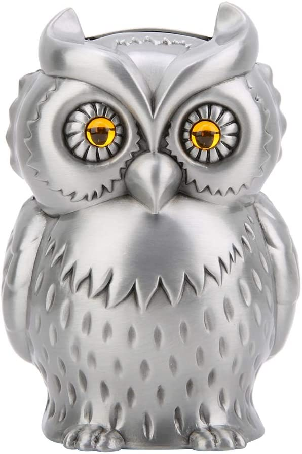 Creative Storage Box Durable Metal Sculpture Shaped Coin Saving Money Animal Piggy Owl Bank Classic Polished Crafts for Home Decoration Childrens Gifts Collection