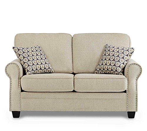 Homelegance Bechette Rolled Arm Loveseat with Polished Nail Head Accent and Two Geometric Pattern Toss Pillows, Beige