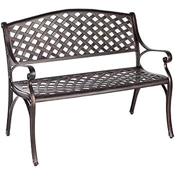 Perfect Patio Sense Antique Bronze Cast Aluminum Patio Bench