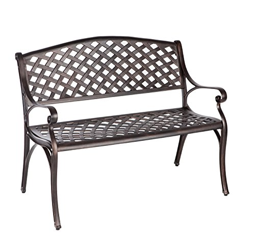 Patio Sense Antique Bronze Cast Aluminum Patio Bench - Cast Aluminum Patio Furniture