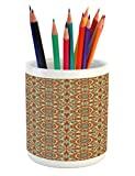 Ambesonne Arabian Pencil Pen Holder, Colorful Geometric Patterns with Islamic Persian Ethnic Art Elements Eastern Boho, Printed Ceramic Pencil Pen Holder for Desk Office Accessory, Multicolor
