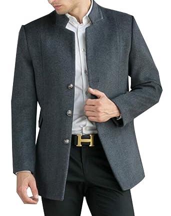 Amazon.com: Mens Classic Winter Trench Coat Chaqueta larga botón más abrigo: Clothing