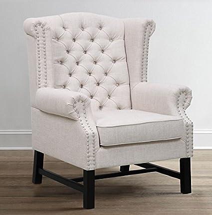 Tov Furniture Fairfield Linen Club Chair, Beige