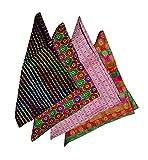 Ana'z Pocket Square Set of 4 Multicolor Handkerchief Men's Fashion Accessory