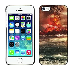 Impact Case Cover with Art Pattern Designs FOR iPhone 5 / 5S Volcano Eruption Island Betty shop