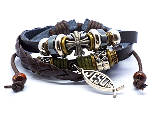 SisFrog Layered Leather Bracelet Vintage Adjustable Handcraft Dangling Jesus Christ Cross Fish Leather Bracelet, Birthday, Easter Gifts, Baptism Gifts for Women, Men (Brown)