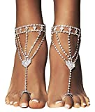 Bellady 2pcs Sparkling Rhinestone Foot Jewelry Silver Heart Symbol Ankle Bracelet Bridal Anklet, Heart Design