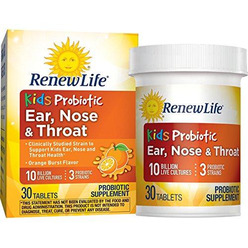 Renew Life Kids Probiotic - Ear, Nose & Throat, Shelf Stable Probiotic Supplement - 10 Billion - Orange Burst, 30 Chewable Tablets