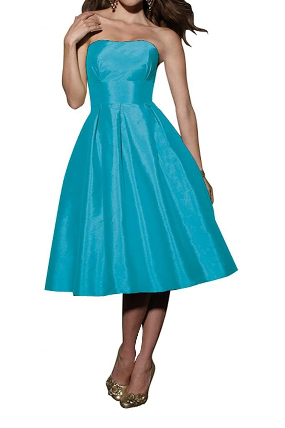 Gorgeous Bride Strapless Shiny Ball Gown Ruffle Sexy Taffeta Bridesmaid Dress