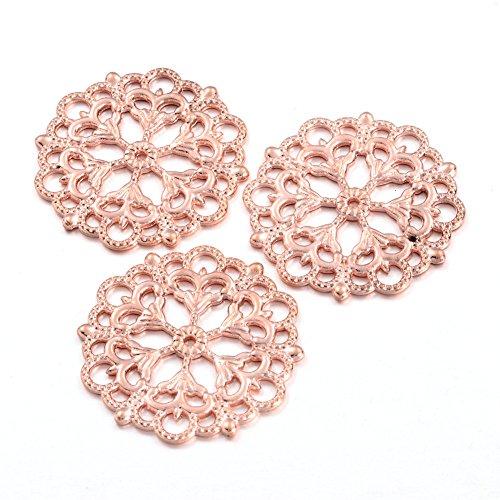 Pandahall 100pcs Tibetan Filigree Flower Metal Pendant Links Lead Free 29mm in Diameter (Rose Gold) ()