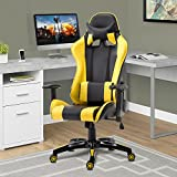 Acepro Gaming Chair Swivel Chair Computer Chair Ergonomic High Back Chair Executive Racing Style Task Desk Chair with Headrest and Lumbar Support Pillow (Black/Yellow)