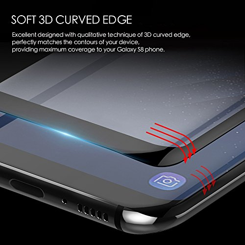 Galaxy S8/Plus Screen Protector[2-Pack] [3D Curved Edge] 100% Full Screen Coverage[Case Friendly] Ultra HD [Anti-Fingerprint] [Anti-scratch] with Updated Design Soft PET Material for S8 Phone Film