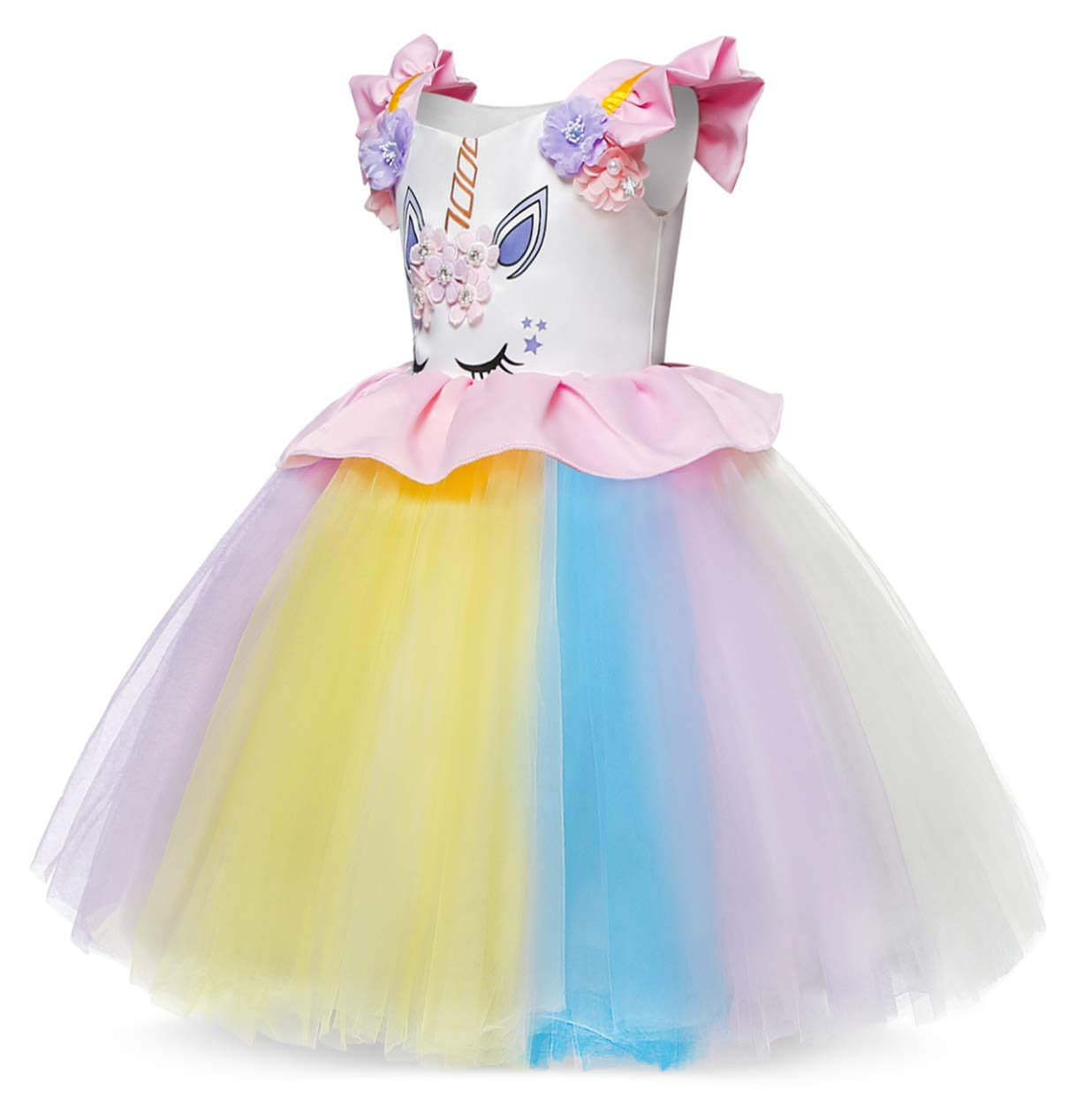 Cotrio Unicorn Costume Fancy Dress Up Flower Girls Dresses Pageant Party Evening Gowns Halloween Tutu Dress 3