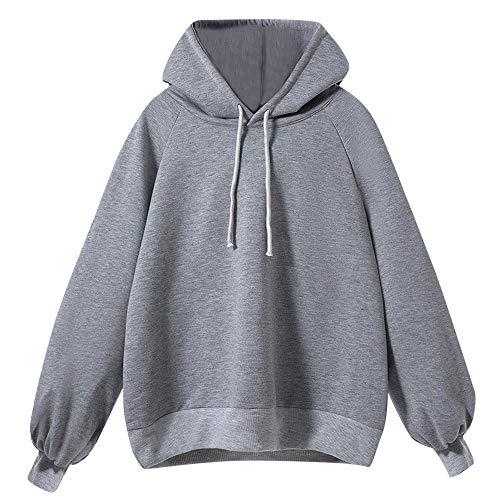 Tantisy ♣↭♣ Women's Plus Size Solid Sweatshirt Tops Autumn Winter Classic Plain Hoodie Blouses Multicolor Multi-Code Gray