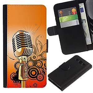"""SAMSUNG Galaxy S3 III / i9300 / i747 , la tarjeta de Crédito Slots PU Funda de cuero Monedero caso cubierta de piel ("""" Microphone Music Singing Retro Vintage"""")"""