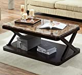 O&K Furniture Modern Faux Marble Top Coffee Table, Rectangular Cocktail Table with Bottom Shelf, Marble Brown,1-Pcs