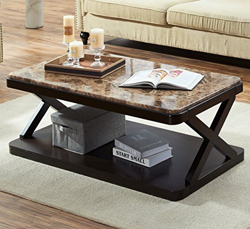 O&K Furniture Modern Faux Marble Top Coffee Table, Rectangular Cocktail Table with Bottom Shelf, Brown Finish