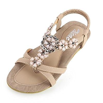 Zicac Women's Bohemia Slingback T-Strap Rhinestone Sandals Flats Shoes