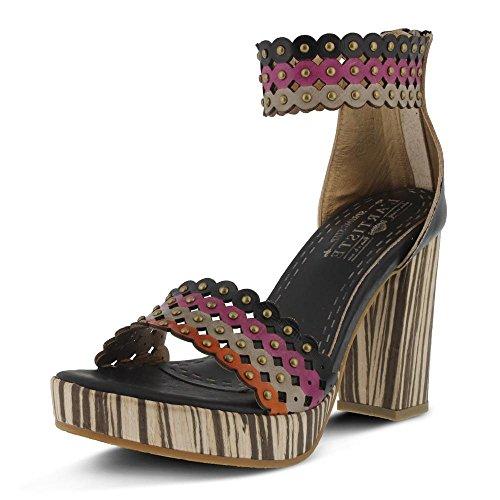 L'Artiste by Spring Step Women's Anna Ankle Strap Platform Sandal,Black Multi Le