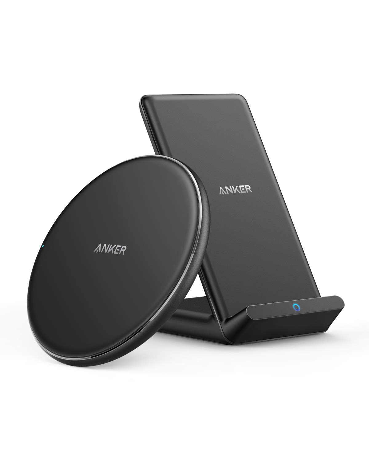 Anker Wireless Chargers Bundle, PowerWave Pad & Stand Upgraded, Qi-Certified 7.5W for iPhone Xs Max XR XS X 8/8 Plus, 10W Fast Charging Samsung Galaxy S10 S9 S8, Note 10 Note 9 (No AC Adapter)