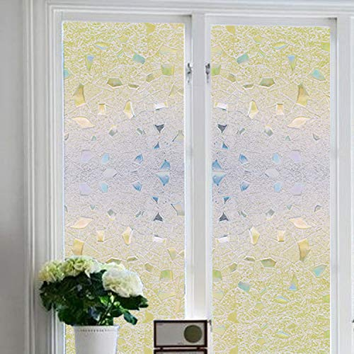 bofeifs Window Decor Film Pattern Design Sticker Decorative Stained Glass Frosted Anti-UV Removable No-Glue 3D Static Texture Design Cling Glass for Home Office Living Room and Office 17.7x78.7 inch