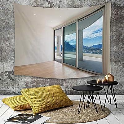 Tapestry,Hippie Tapiz,tapiz de pared con decoración para el hogar,Decoración moderna, ático con amplia terraza, puerta corredera, parquet,para picnic Mantel o Toalla de Playa redonda 180 x 230 cm: Amazon.es: Hogar