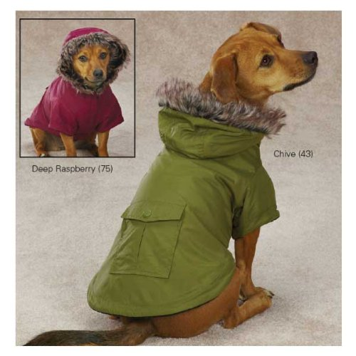 Fur Trim Dog Parka Color: Chive Size: Small (12