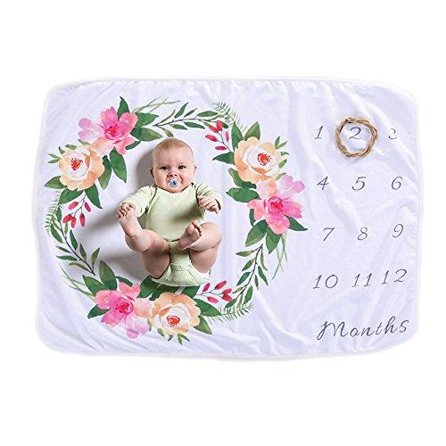 Funkeet Baby Monthly Milestone Blanket Photography Prop, Newborn Infants Swaddling Polar Fleece Month Photo Background Blanket (Floral)