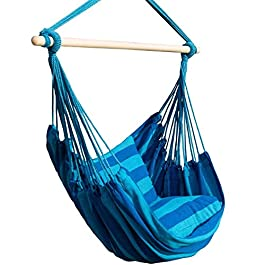 Bormart Hanging Rope Hammock Chair Large Cotton Weave Porch Swing Seat Comfortable and Durable Hanging Chair for Yard, Bedroom, Porch, Indoor, Outdoor – 2 Seat Cushions Included