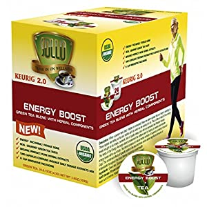 SOLLO Tea Pods Compatible With 2.0 K-Cup Keurig Brewers, Energy Boost Organic Green Tea With Herbal Extracts, 24 Count per Box, Organic by USDA, Wellness Functional Tea