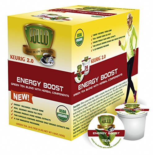 SOLLO Single Serve Keurig 2.0 Compatible GREEN TEA Pods, Energy Boost Organic Green Tea With Herbal Extracts, 24 Count per Box, Organic by USDA, Wellness Functional Tea