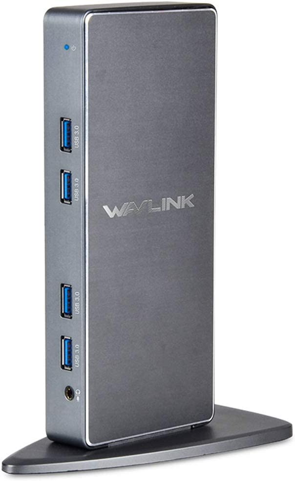 Wavlink Aluminum USB 3.0 Universal Laptop Docking Station Dual Monitor Display HDMI & DVI/VGA, Gigabit Ethernet, Audio, 6 USB 3.0 Ports for Laptop, Tablets, Ultrabook,More Efficient Home Office