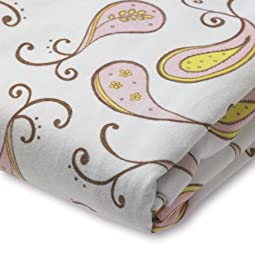 SwaddleDesigns Cotton Crib Sheet, Made in USA, Premium Cotton Flannel, Pastel Pink Paisley