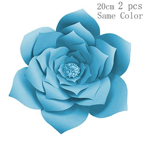 Wedding Lilly Flowers Favor - 2Pcs 20Cm DIY Paper Flowers Backdrop Blue Artificial Flower Backdrop Wedding Decoration Birthday Event Party Supplies 2pc Dark Blue