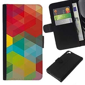 All Phone Most Case / Oferta Especial Cáscara Funda de cuero Monedero Cubierta de proteccion Caso / Wallet Case for HTC Desire 820 // Green Red Teal Vibrant Yellow