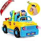 Betheaces Take Apart Truck Toy, Educational Tool Toy for Boys and Girls with Music (Off-switch) Headlight and Omni-directional Wheel, Electric Power Drill, Screwdriver, Wrench, Full Set of Assembling