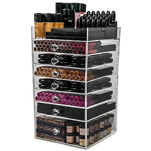N2 Makeup Co Acrylic Makeup Organizer Cube, 7 Drawers Storage Box for Vanity Tables (7 Drawer)