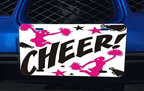 Girl Cheerleader Plate (Cheer Aluminum License Plate for Car Truck Vehicles)