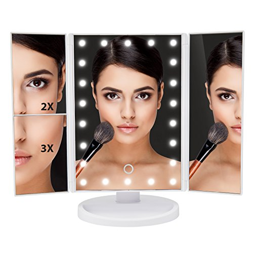 Lighted Makeup Mirror - Tri-Fold White Vanity Mirror with Bright Dimmable LED Lights - This Cosmetic Mirror Has 2X and 3X Magnifying Mirrors - Perfect For Your Bathroom, Bedroom or Travel