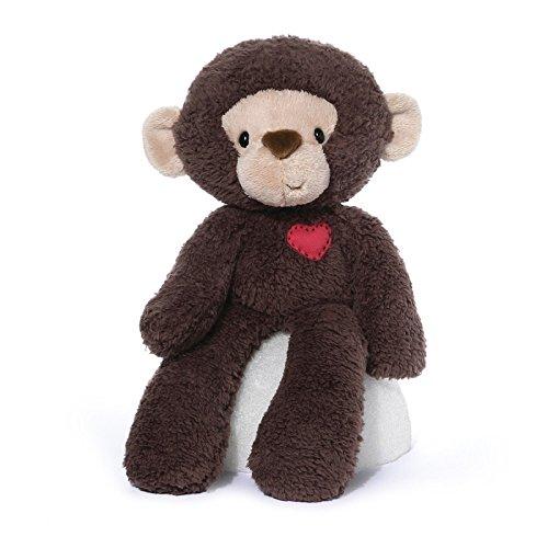 Gund Valentine's Day Fuzzy Plush Monkey with Heart, Brown, Beige, Red, Medium, ()