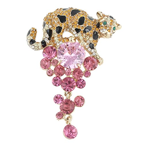 EVER FAITH Leopard Chandelier Brooch Tassel Pink Zircon Crystal ()