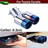 OEM 1pcs Blue Color Stainless Steel Universal Stainless Steel Curved Exhaust Muffler Tail Pipe Tip Tailpipe Extension Pipes Trim Custom Fit For Toyota-Corolla 2008 2009 2010 2011 2012 2013 2014 2015 2016 2017