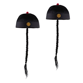253d3befe88fef Phenovo 2pcs/Set Retro Adult Men's Black Chinese Oriental Caps with  Ponytail Party Role Play Hat Fancy Dress Accessories: Amazon.in: Baby