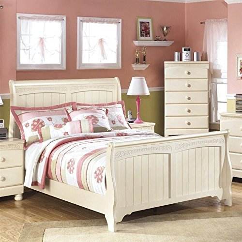 Ashley Full Sleigh Bed - Ashley Cottage Retreat Wood Full Sleigh Bed in Cream