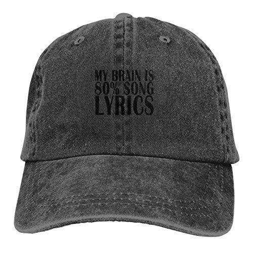Keviewly My Brain is 80% Song Lyrics Cowboy Caps Trucker Baseball Hats Women's Men]()