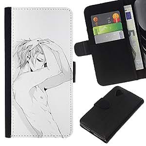 A-type (Sexy Anime japonés Abs Hombre Blanco) Colorida Impresión Funda Cuero Monedero Caja Bolsa Cubierta Caja Piel Card Slots Para LG Nexus 5 D820 D821