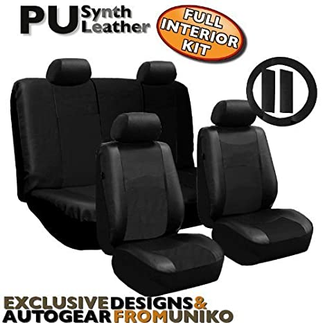 Full Set Faux LEATHER Universal Synthetic 11pc Car Seat Covers Black Color Free Bonus Steering Wheel
