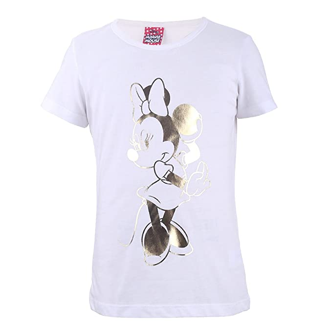 aa24b13a0d757 Disney Niñas Minnie Mouse Camiseta, T-Shirt, Blanco: Amazon.es: Ropa y  accesorios
